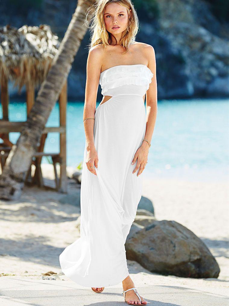 93e37df238 Victoria s Secret Ruffle Bandeau Maxi Dress -  34.99  fashion  beach   honeymoon