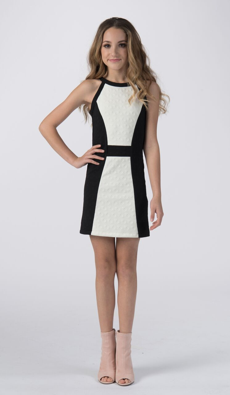 11e82562ecd Sally Miller tween ivory and black knit shift special occasion dress front  view