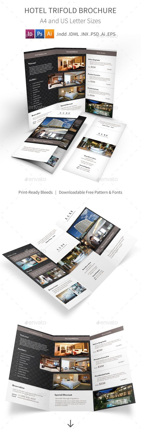 Hotel Trifold Brochure  Brochures Psd Templates And Template