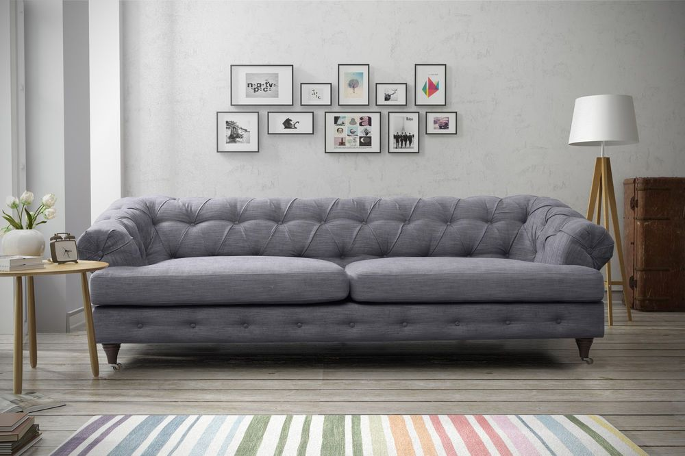 New Quality 3 Seater Fabric Linen Chesterfield Dark Grey In Home Furniture Diy Sofas Armchairs Suites