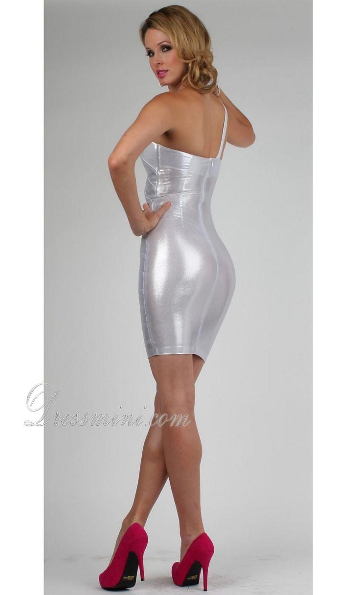 Silver short dresses silver one shoulder shortmini zipper up prom