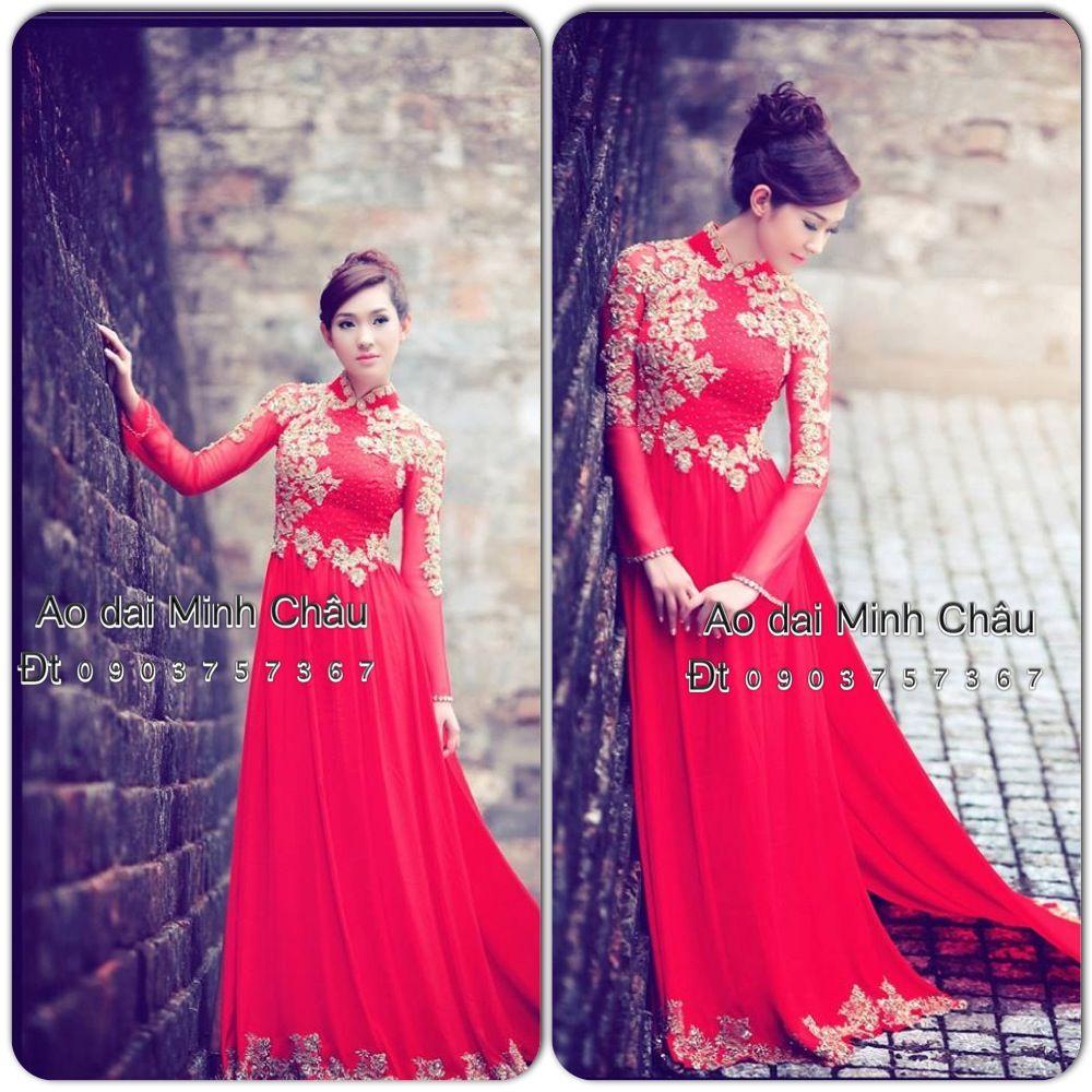 Ao Dai Minh Chau Vietnamese wedding dress, Ao dai