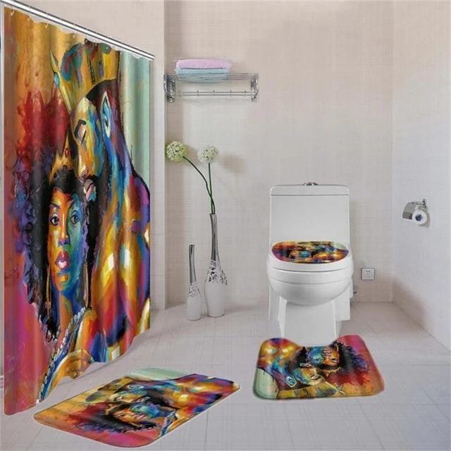 Dafield 4 Pcs African American Women Shower Curtain Bath Rug Sets Toil Rockin Docks Deluxephotos Toilet Covers