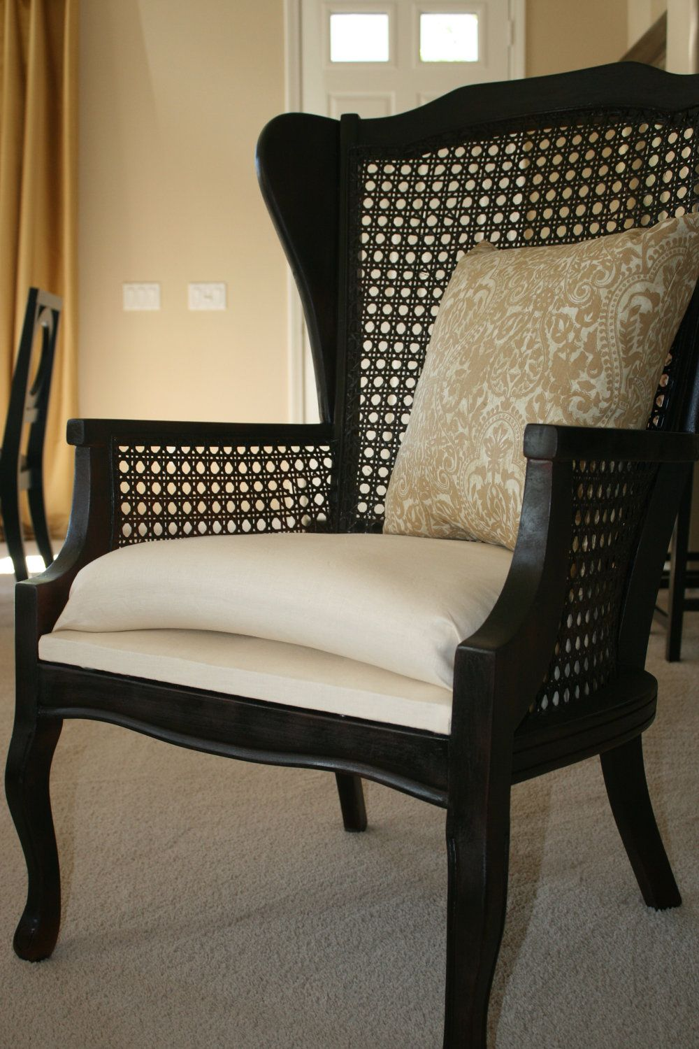 Couture cane wing back chair no longer available etsy