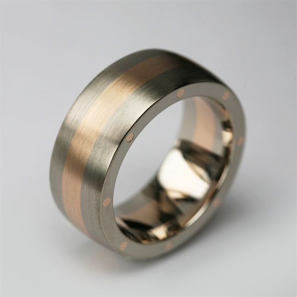Stephen Einhorn Bespoke Metal Geo Elipse Wide Wedding Ring In Fairtrade Fairmined Gold