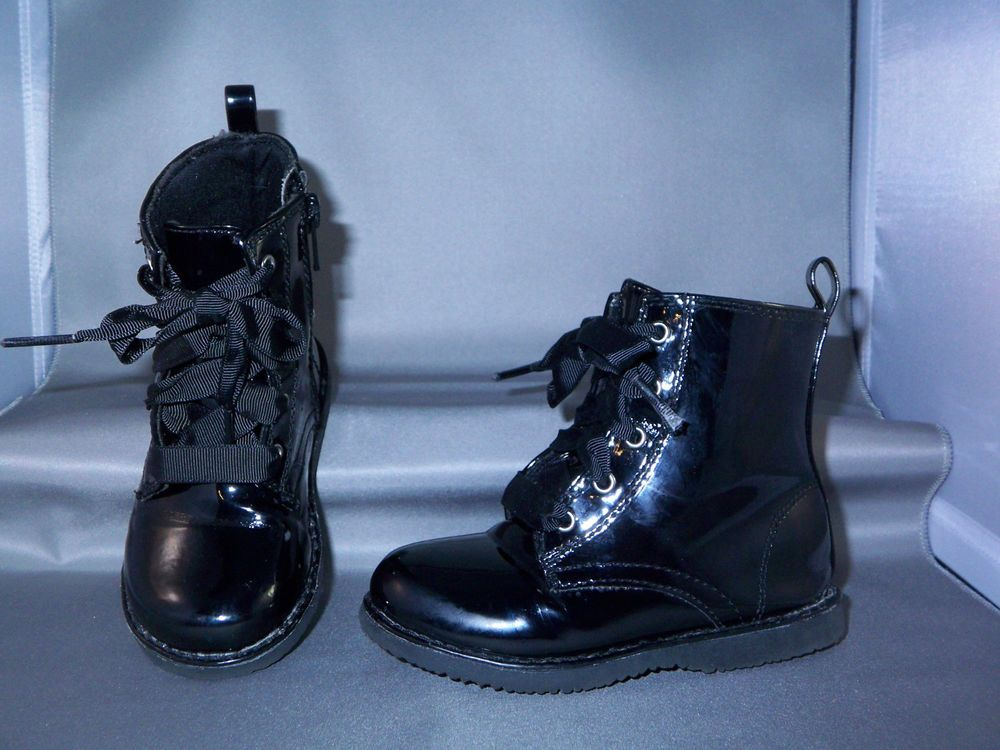 Toys R Us Amycoe Toddler Girls Combat Ankle Boots Size 7 Black Patent Leather Toysrus Boots Boots Casual Boots Casual Girl
