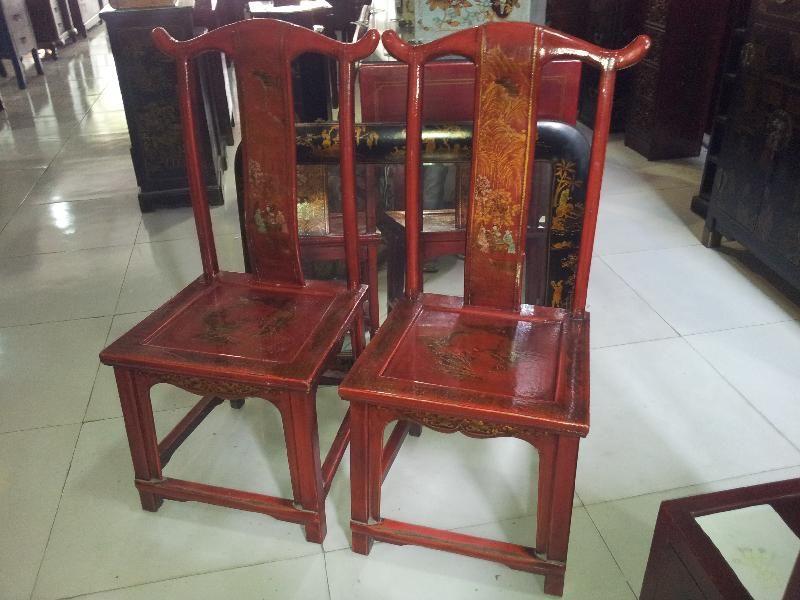 Sedie Antiquariato ~ Coppia di sedie in lacca rossa riccamente decorate shanxi inizio
