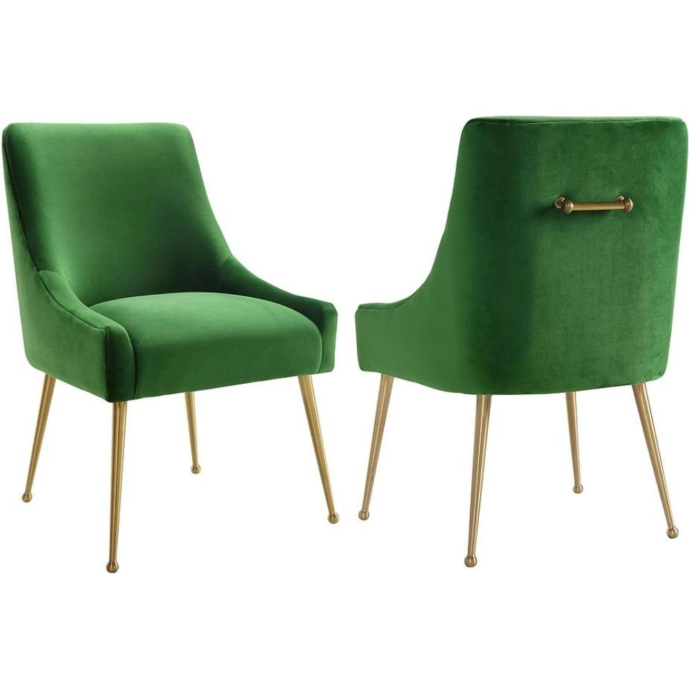 Tov Furniture Tov D46 Beatrix Green Velvet Side Dining Chair Handle Gold Stainless Legs Velvet Dining Chairs Side Chairs Upholstered Side Chair