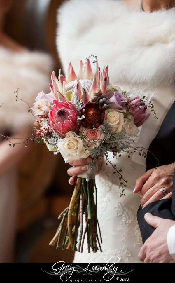Elegant Wedding Bouquet Mixing South African Proteas And Multicolour Roses Safari Wedding Winter Wedding Flowers Elegant Wedding Bouquets
