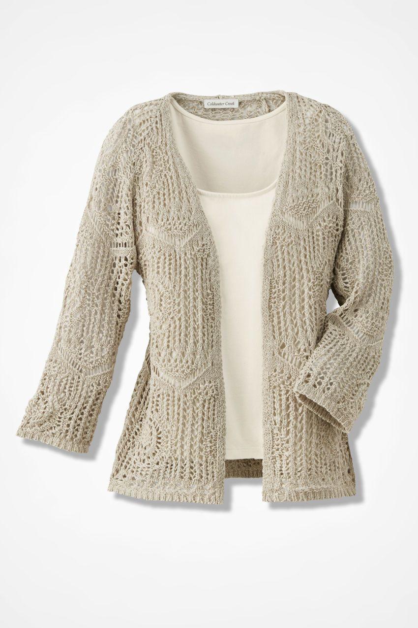Open Crochet Cardigan - Women's Sweaters | Coldwater Creek ...