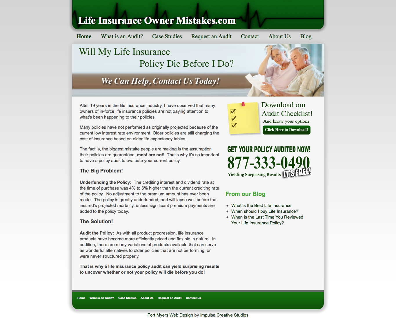 Life Insurance Owner Mistakes Website Design by Impulse