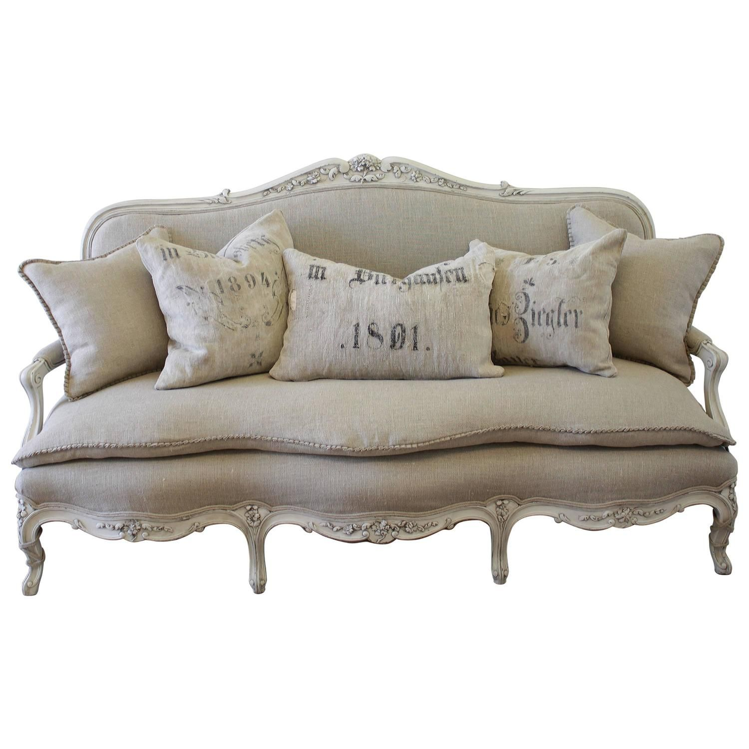 Antique Painted French Country Louis Xv Style Sofa Settee In Irish