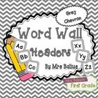 Word Wall Header {Grey Chevron} Upper and Lower Case