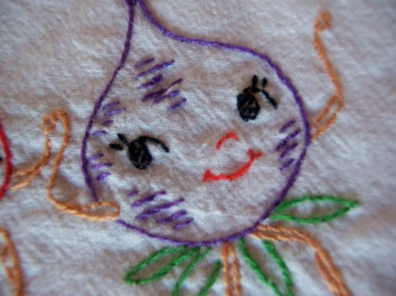 this adorable kitchen towel is hand embroidered  prewashed and ready to charm your kitchen  100% vintage cotton  15 x 35  MFM