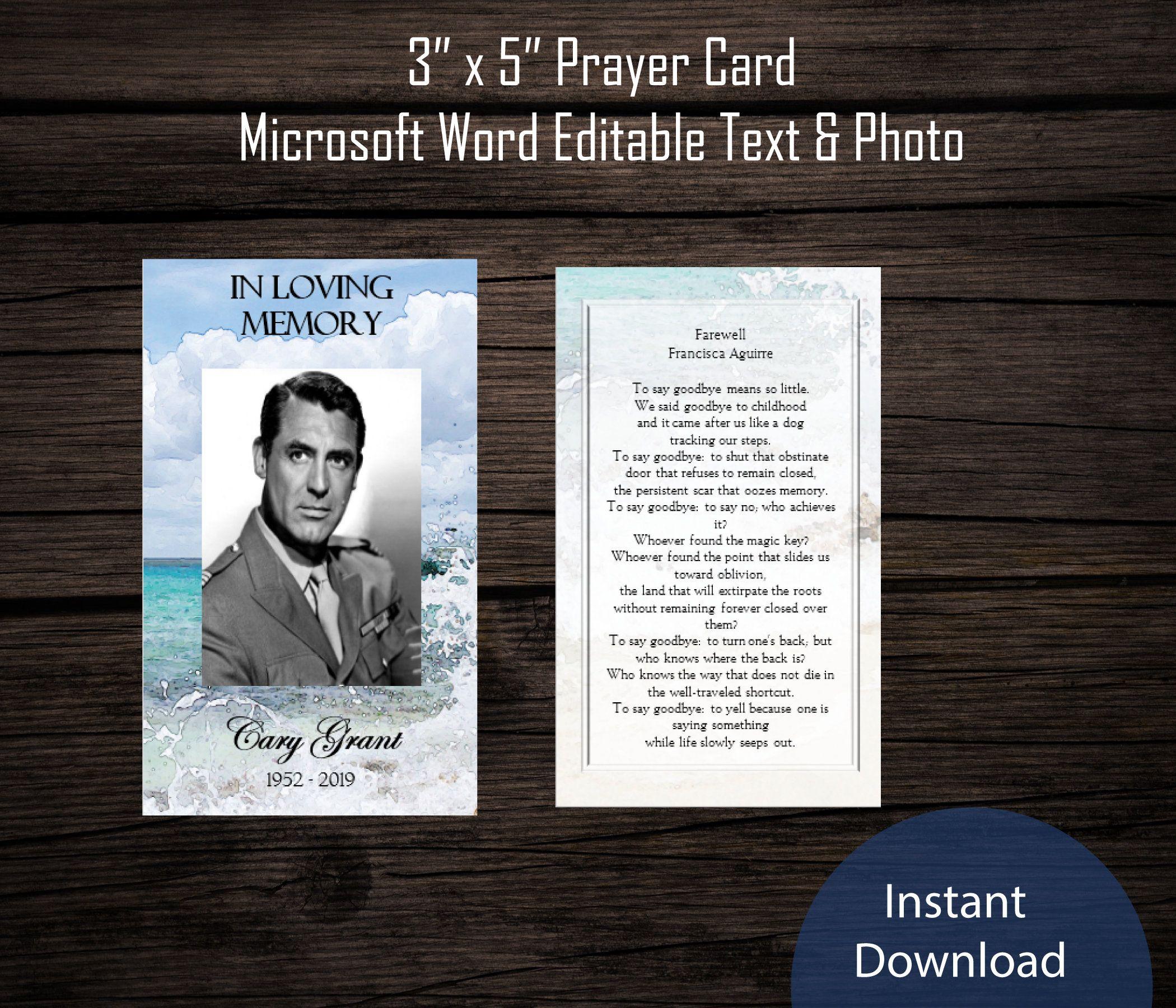 Funeral Prayer Card Template Beach Waves Memorial Prayer Program Printable Microsoft Word Https Et Funeral Program Template Memorial Cards Prayer Cards