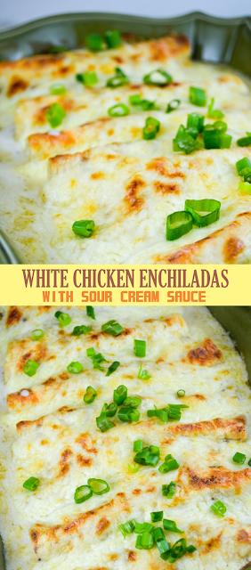 White Chicken Enchiladas With Sour Cream Sauce Eat Chicken Recipes Casserole Rotisserie Chicken Recipes Leftover Shredded Chicken Recipes