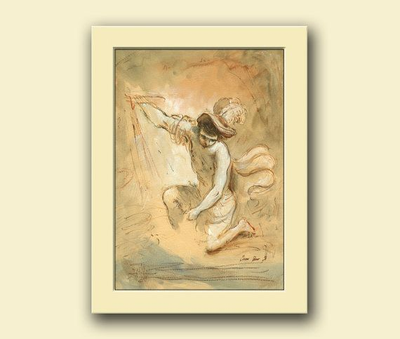 David figure -naked man figure classical style drawing - watercolor ...