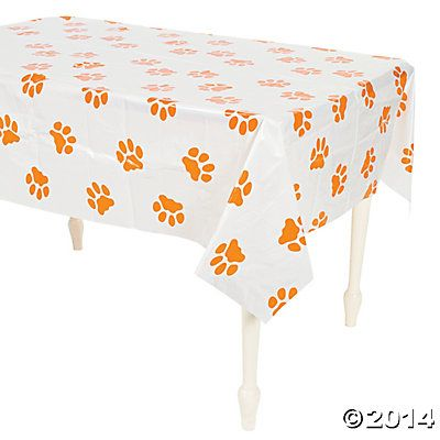 Puppy Paw Print Plastic Tablecloth | Birthday Party Ideas ...