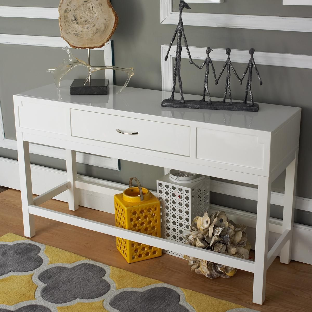 Sleek White Lacquered Console Table A Versatile Table For Your Entryway Dining Room Or Behind