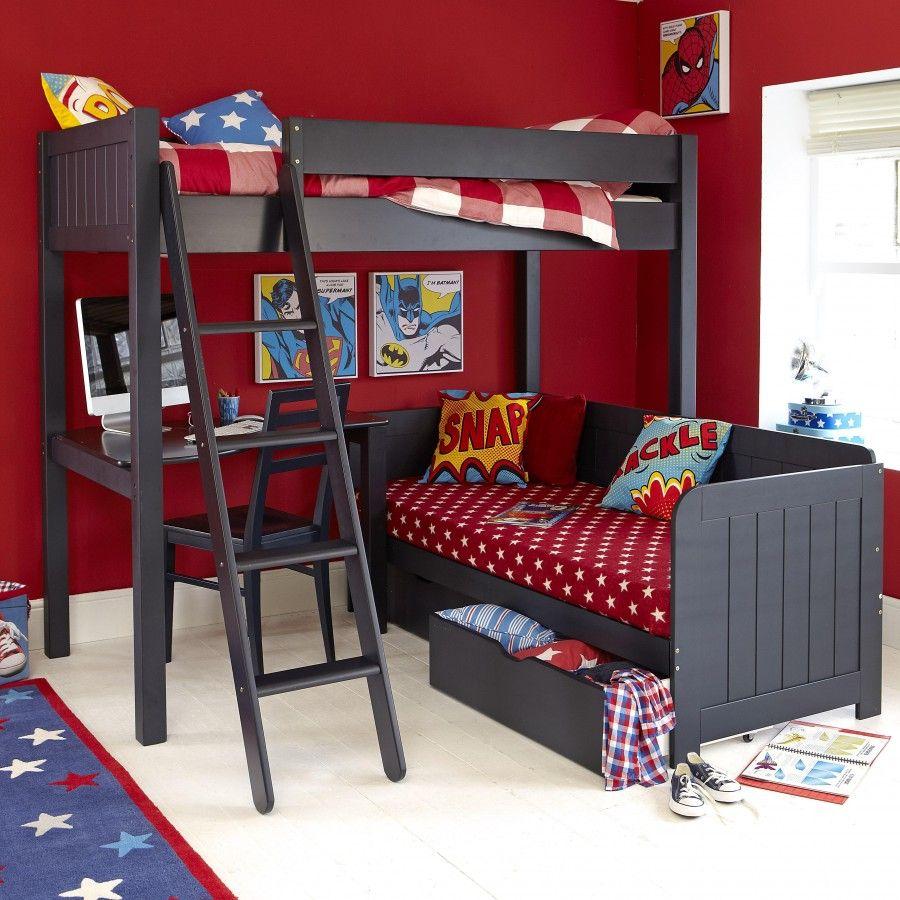 High sleeper loft style cabin bed with hideaway futon bed rutland - Warwick High Sleeper With Day Bed