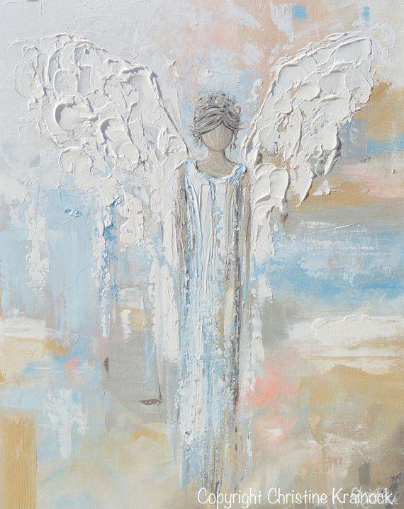 GICLEE Druck Kunst abstrakte Engel Malerei Leinwand Druck Ölgemälde Home Decor Wand Dekor spirituelle weiß blau Beige Pastell - Christine #shadesofwhite