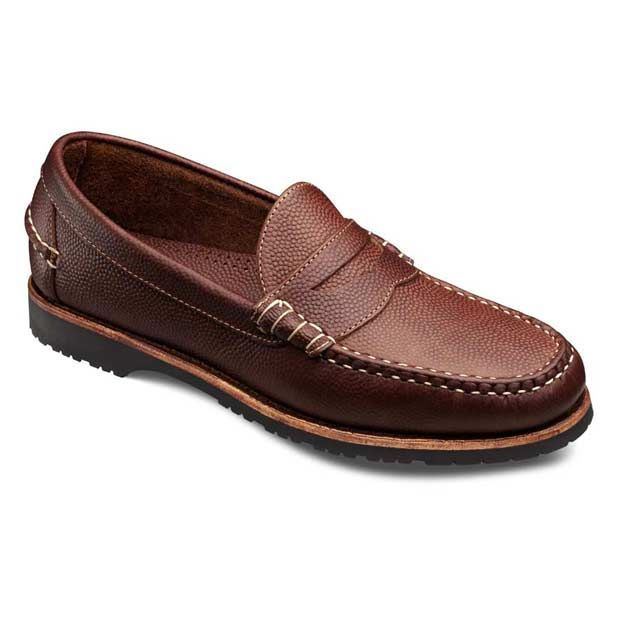 Duke Brown Football Grain Leather - Slip-on Penny Loafer Men's Casual Shoes  by Allen Edmonds