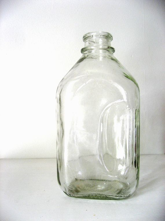 Vintage Milk Bottle Glass Half Gallon Mid Century By Birchwoodroad