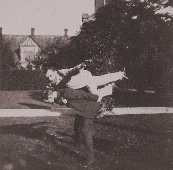 Tsar Nicholas II and another royal friend playing airplane (1890)