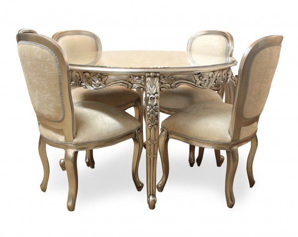 Round Carved Dining Table Set Silver Leaf French Provincial Style Dining Table Shabby Chic Dining Room Upholstered Chairs