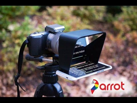 professional parrot teleprompter mirrors script onto camera