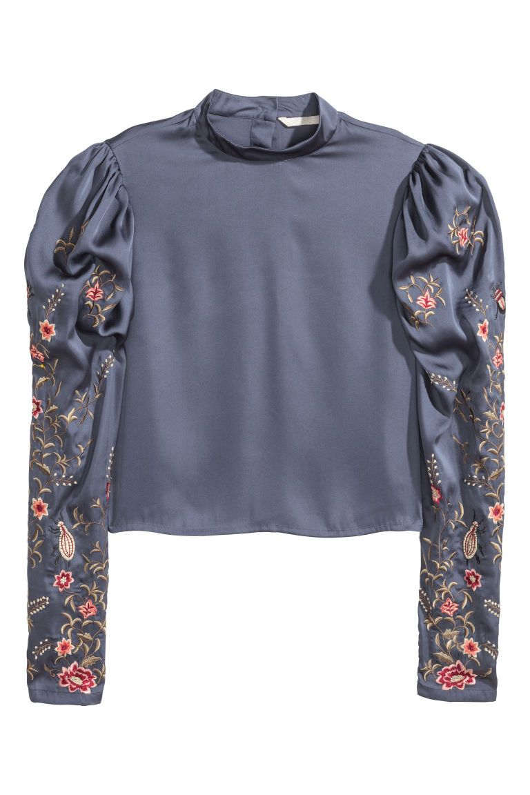 Photo of Satengbluse med broderi – Mørk grå – DAME | H&M NR