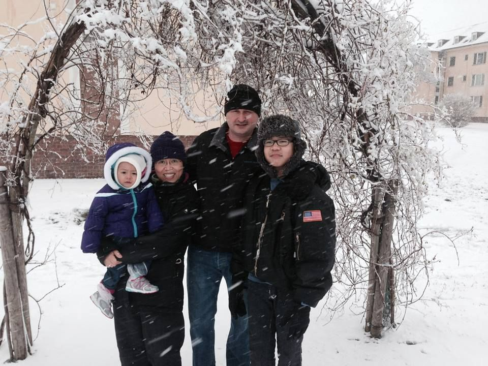 My son and daughters first snow