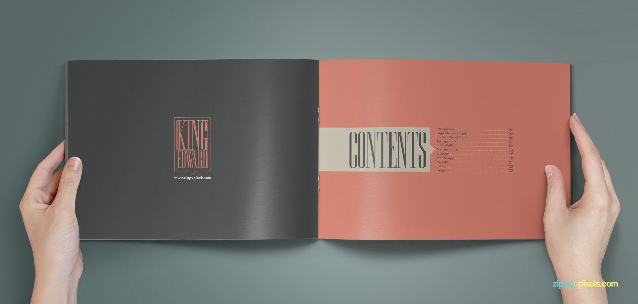 The Royal u2013 A Splendid Brand Book Template - Table of Contents - booklet template free download