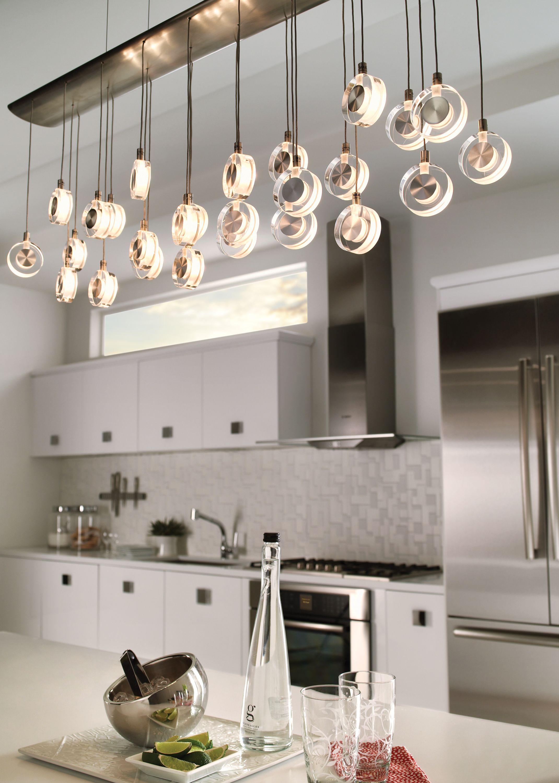 Lbl Lighting S Bling Chandelier Has Discs Of Transparent Crystal With Sandblasted Interior And Decorative Kitchen Lighting Design Bling Chandelier Lbl Lighting