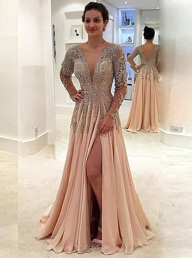 426f5472edab A-Line V-Neck Long Sleeves Pearl Pink Chiffon Prom Dress with Beading Split