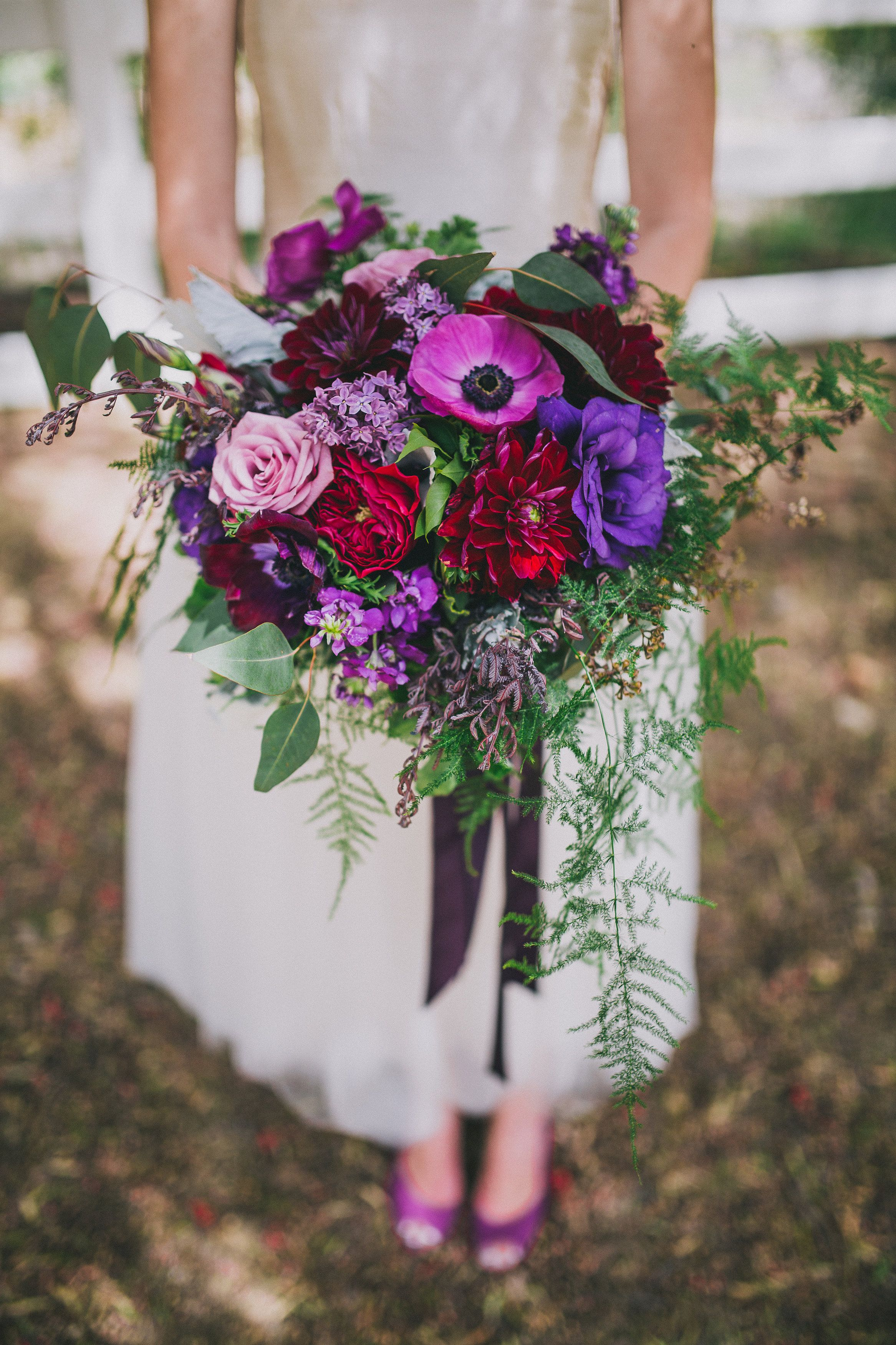 Jewel Tone Bridal Bouquet Purples Pinks And Greys Luxe