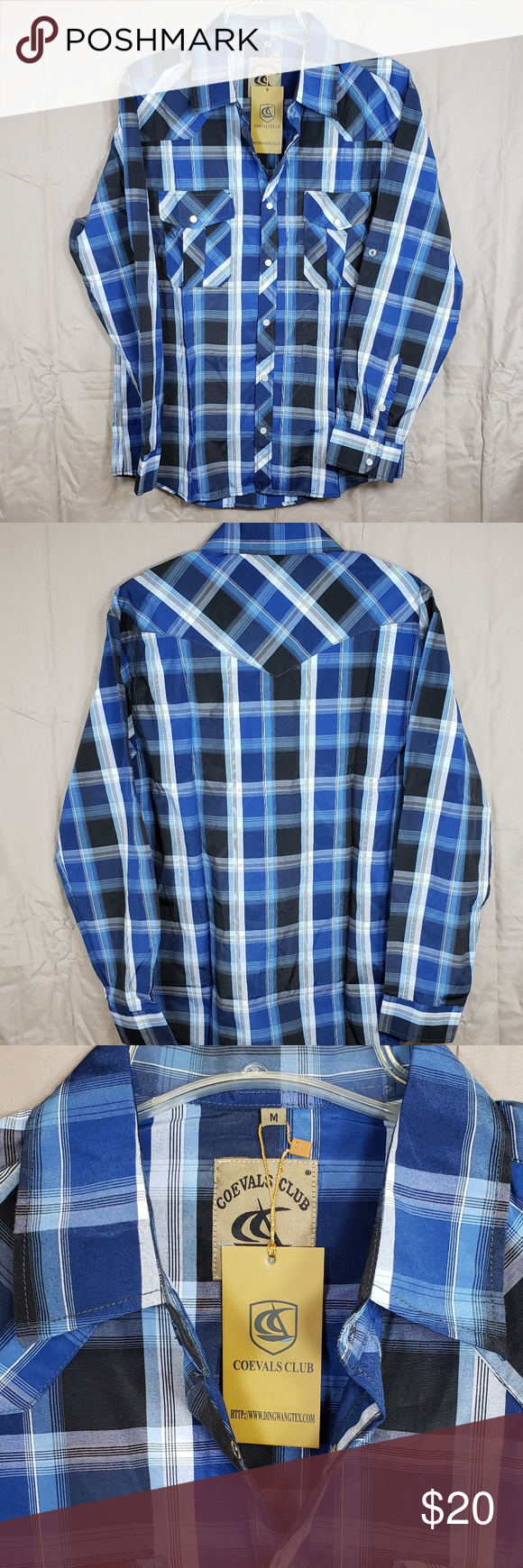 441dcd74419 Coevals Club Men's Long Sleeve Shirt Coevals Club Men's Long Sleeve Casual  Western Plaid Snap Buttons Shirt. Size is Medium. 40%Cotton/60%Polyester  Pearl ...