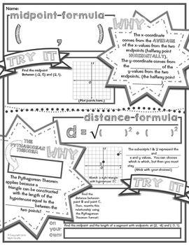 Midpoint Formula Distance Formula Doodle Notes Distance