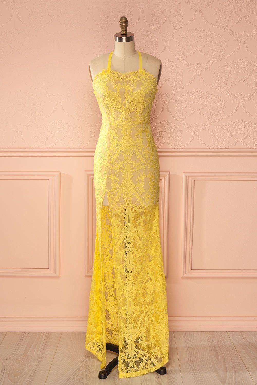 Lesedi citron maxi dresses hair and lace maxi
