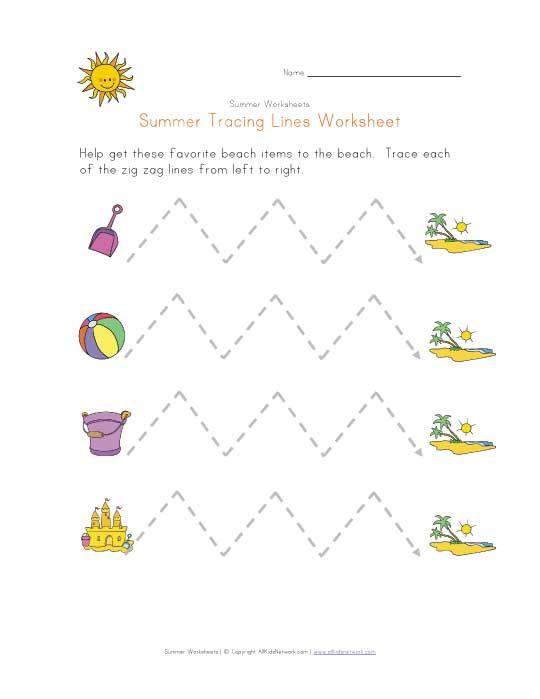 Summer Tracing Zig Zag Lines Worksheet Pre Writing Activities Pattern Worksheet Summer Worksheets Zig zag worksheets for kindergarten