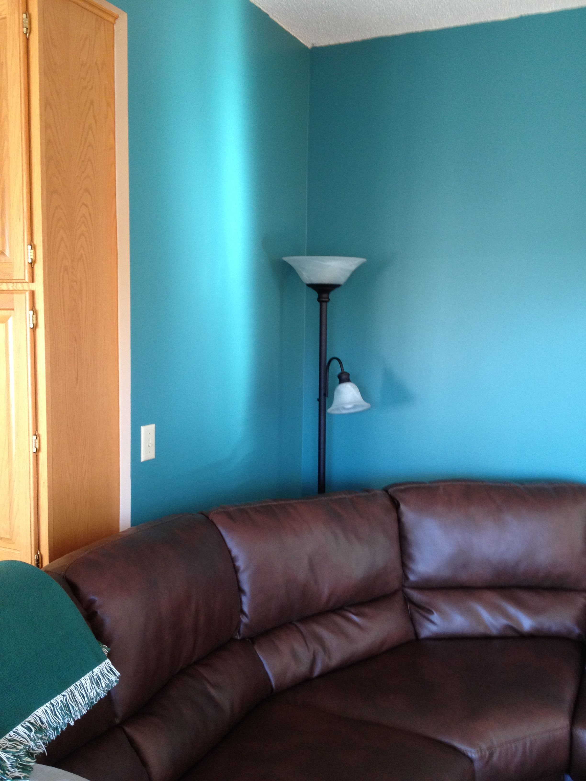 Family room accent wall sherwin williams color lagoon for the home