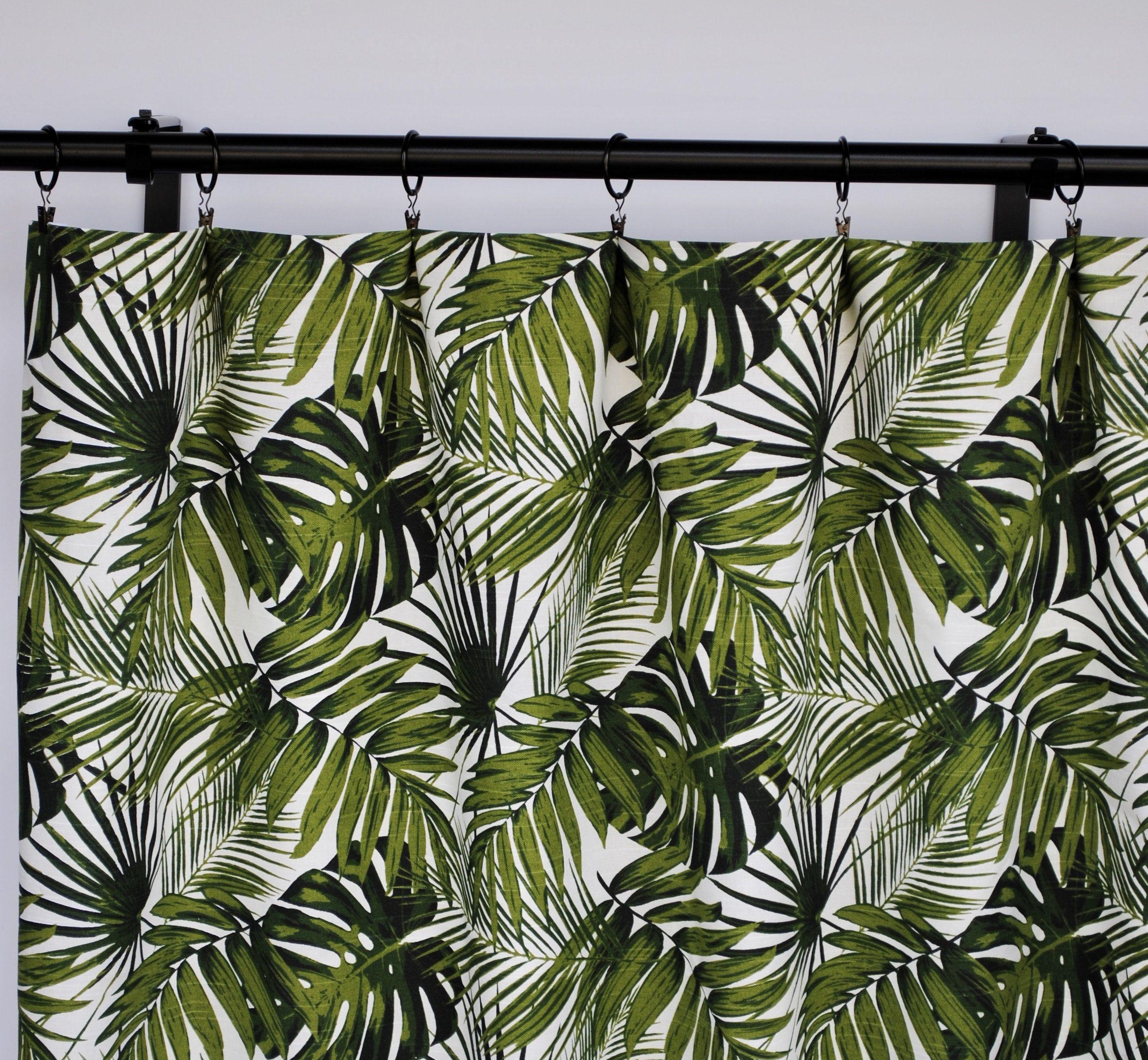 Tropical Curtains Green Palm Green Curtain 2 Curtain Etsy