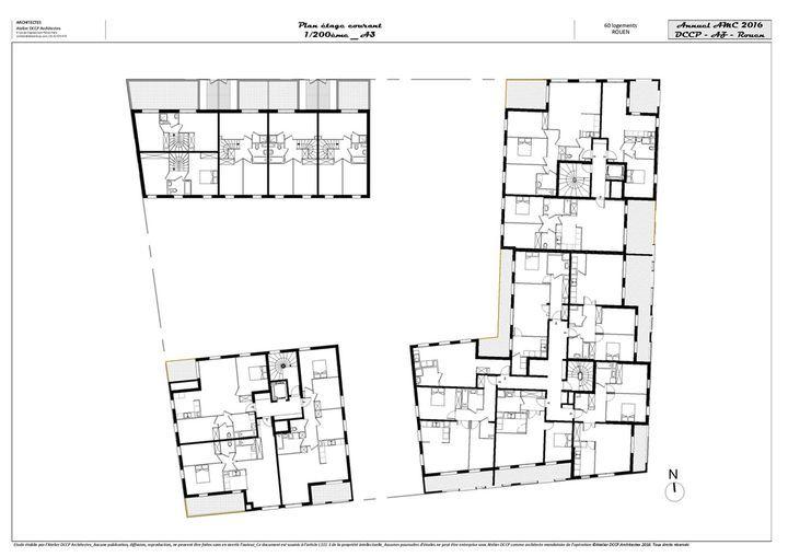 atelier dccp et az architecture 58 logements collectifs et individuels rouen plan logement. Black Bedroom Furniture Sets. Home Design Ideas