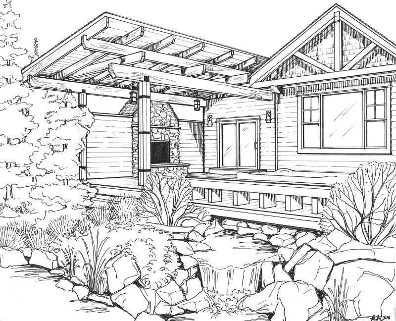 Line art drawings bing images coloring pages for for Exterior house drawing