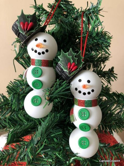 Set Of 2 Ping Pong Ball Snowman Christmas Tree Ornaments Handmade
