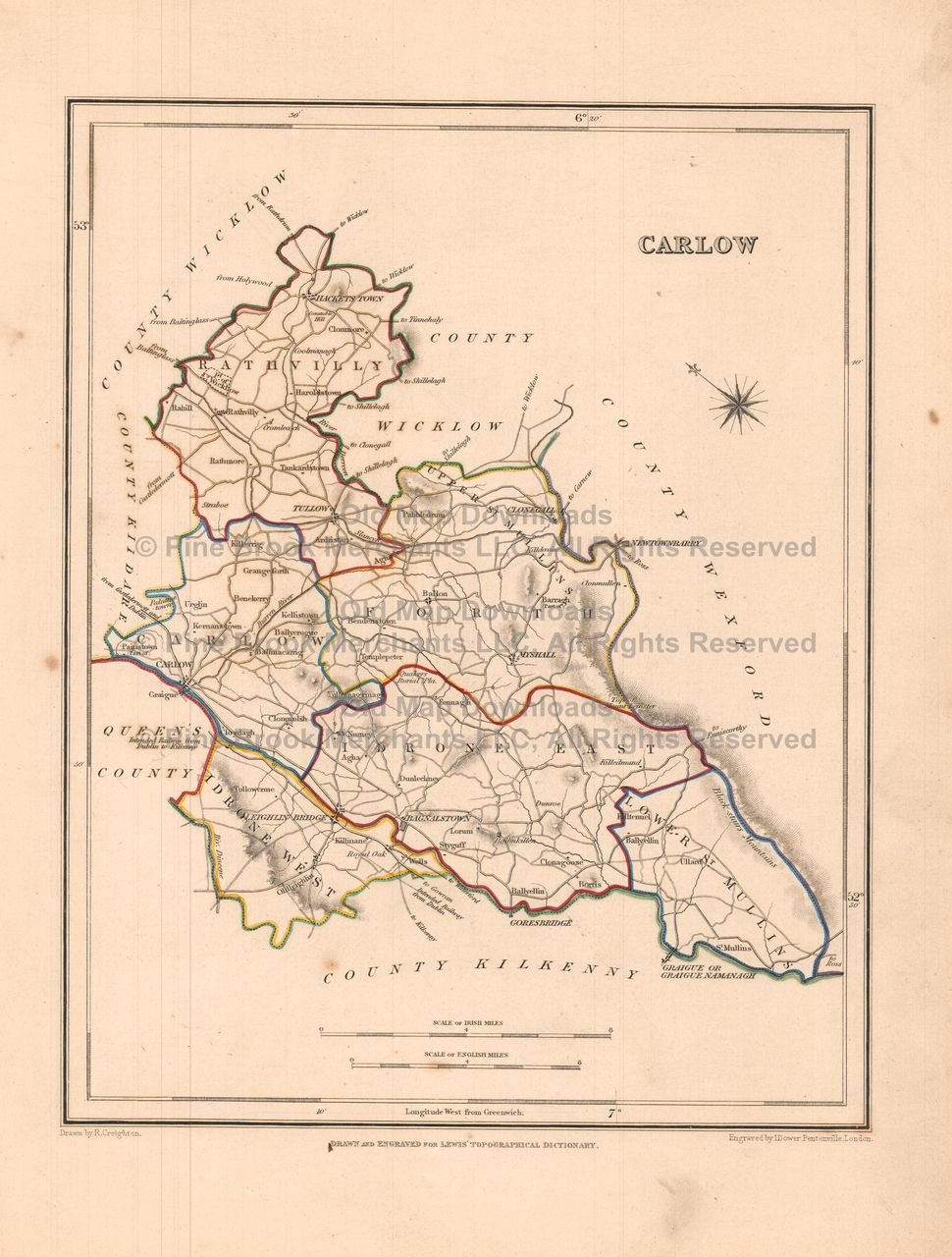Carlow On Map Of Ireland.Pin By Pine Brook Antique Maps Vintage Antique Map Decor And Gifts