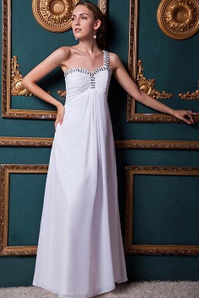 Chiffon One-shoulder Elegant Bridal Gowns - Order Link: http://www.theweddingdresses.com/chiffon-one-shoulder-elegant-bridal-gowns-twdn0236.html - Embellishments: Beading , Ruched; Length: Floor Length; Fabric: Chiffon; Waist: Empire - Price: 143.55USD