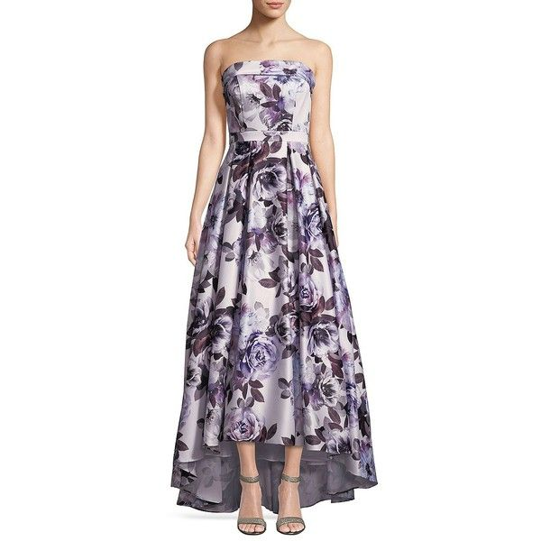 1bfbb364 Xscape Women's Strapless Floral Hi-Lo Gown ($299) ❤ liked on Polyvore  featuring dresses, gowns, purple, floral gown, hi low gowns, purple dresses,  floral ...