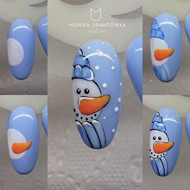 Snowman Nail Art Tutorial: CUTE Winter Snowman Nail Art Tutorial. Easy Nail Art Ideas