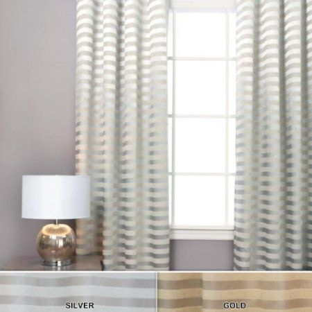 Satin And Suede Stripe Grommet Curtain 96 W X 84 L